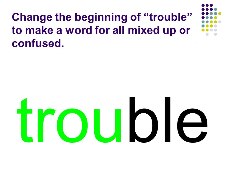 trouble Change the beginning of trouble to make a word for all mixed up or confused.