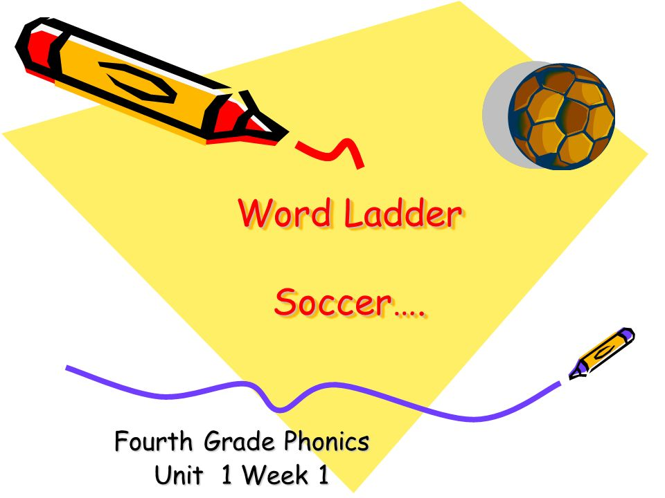 Word Ladder Soccer…. Fourth Grade Phonics Unit 1 Week 1