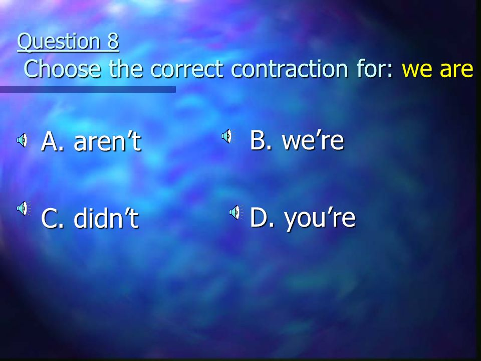 Question 7 Choose the correct contraction for: I will A Im C. Ill B. its D. isnt