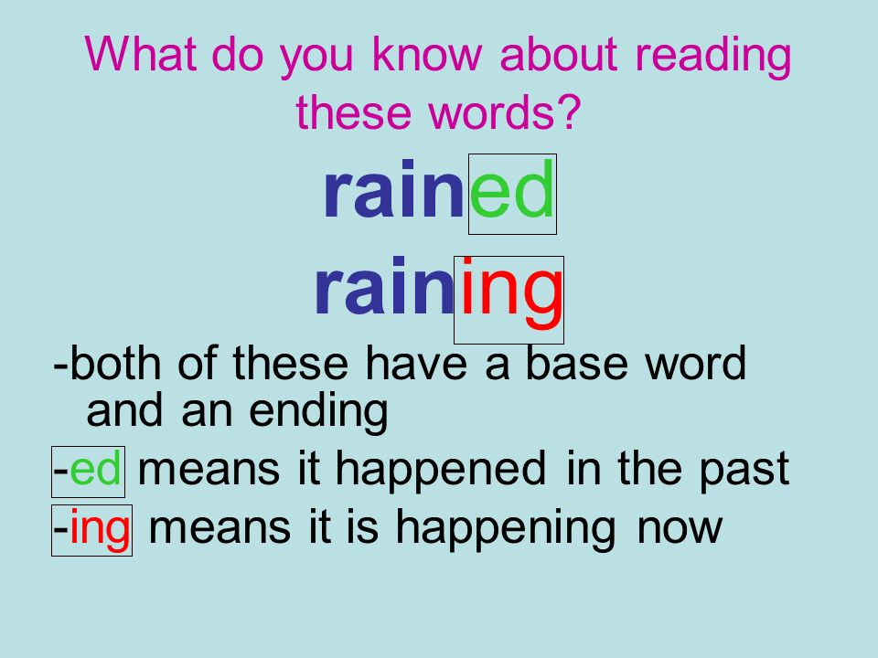 What do you know about reading these words? rained raining -both of these have a base word and an ending -ed means it happened in the past -ing means