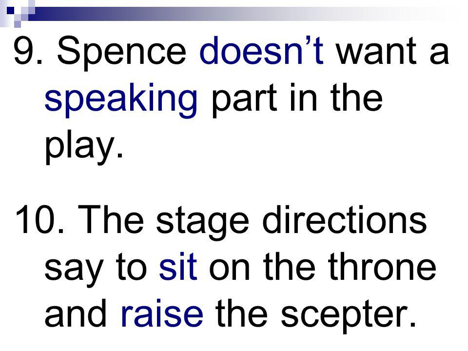 9.Spence doesnt want a speaking part in the play.