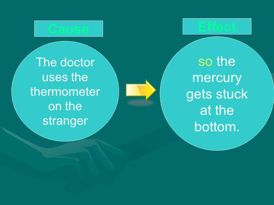 so the mercury gets stuck at the bottom. The doctor uses the thermometer on the stranger Effect Cause