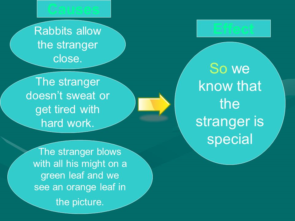 So we know that the stranger is special Rabbits allow the stranger close. Effect Causes The stranger doesnt sweat or get tired with hard work. The str