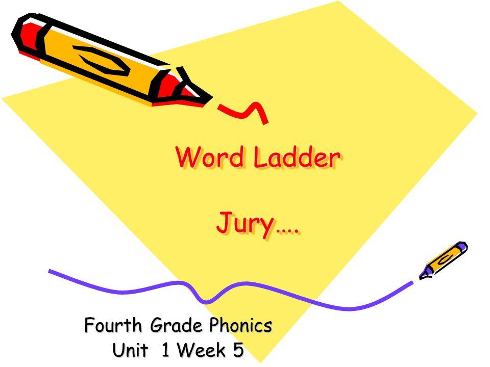 Word Ladder Jury…. Fourth Grade Phonics Unit 1 Week 5