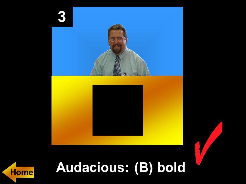 3 Audacious: (B) bold