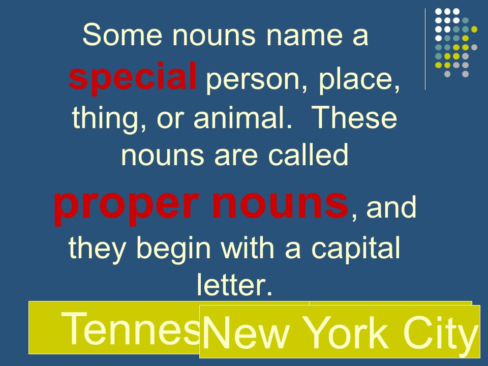 Some nouns name a special person, place, thing, or animal. These nouns are called proper nouns, and they begin with a capital letter. SamTennessee New