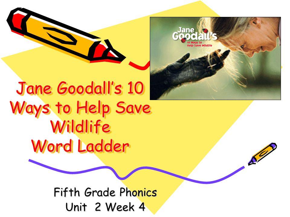 Jane Goodalls 10 Ways to Help Save Wildlife Word Ladder Fifth Grade Phonics Unit 2 Week 4