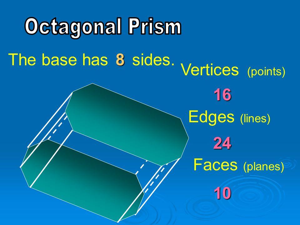 Vertices (points) Edges (lines) Faces (planes) 16 24 10 The base has sides.8