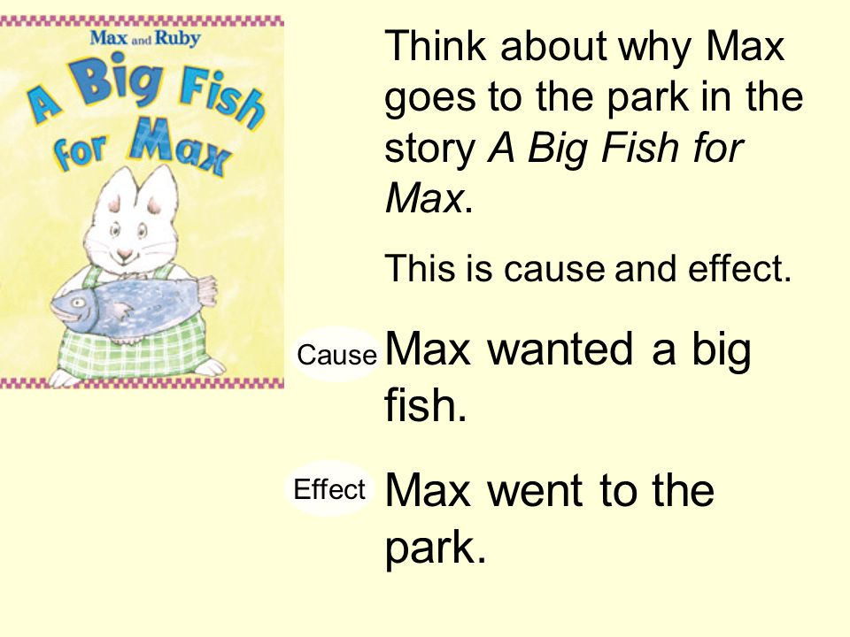 Think about why Max goes to the park in the story A Big Fish for Max. This is cause and effect. Max wanted a big fish. Max went to the park. Cause Eff