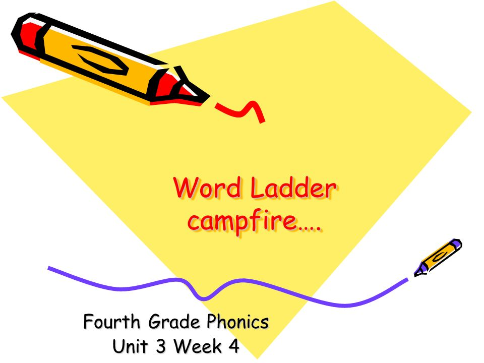 Word Ladder campfire…. Fourth Grade Phonics Unit 3 Week 4