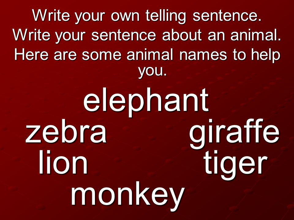 Write your own telling sentence. Write your sentence about an animal. Here are some animal names to help you. elephant zebra giraffe lion tiger monkey