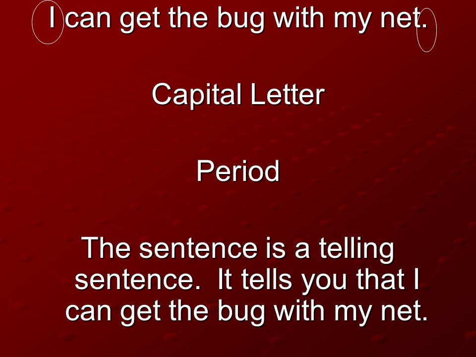 I can get the bug with my net. Capital Letter Period The sentence is a telling sentence. It tells you that I can get the bug with my net.