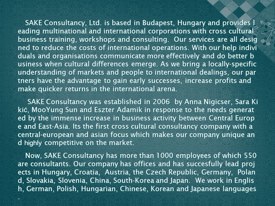 SAKE Consultancy, Ltd.