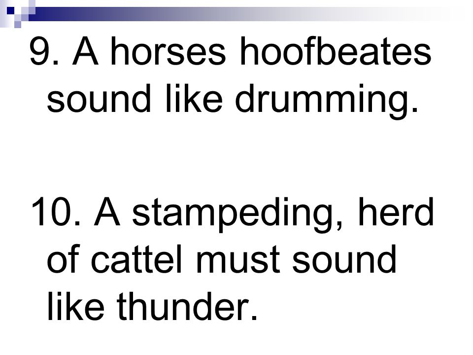9. A horses hoofbeates sound like drumming. 10. A stampeding, herd of cattel must sound like thunder.