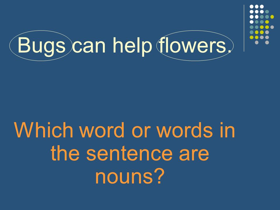 Bugs can help flowers. Which word or words in the sentence are nouns