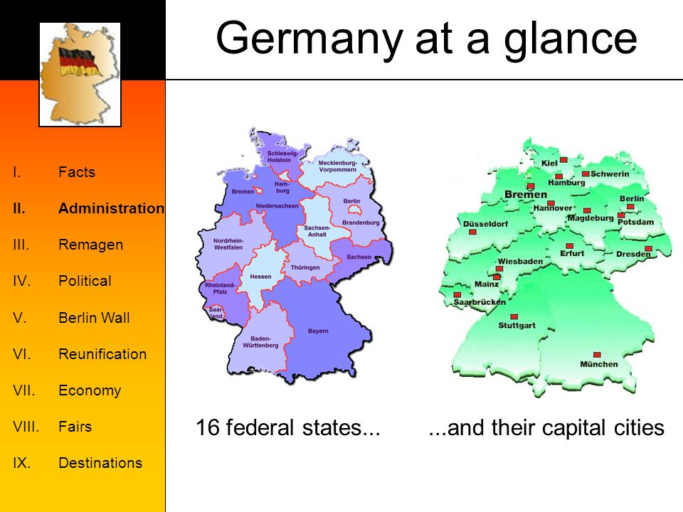 Germany at a glance I.Facts II.Administration III.Remagen IV.Political V.Berlin Wall VI.Reunification VII.Economy VIII.Fairs IX.Destinations 16 federal states......and their capital cities