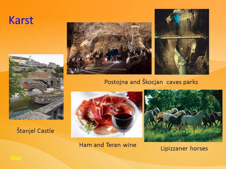 Karst Postojna and Škocjan caves parks Lipizzaner horses Ham and Teran wine Štanjel Castle Map