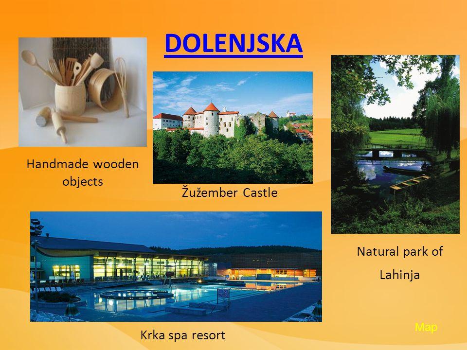 DOLENJSKA Handmade wooden objects Žužember Castle Natural park of Lahinja Krka spa resort Map