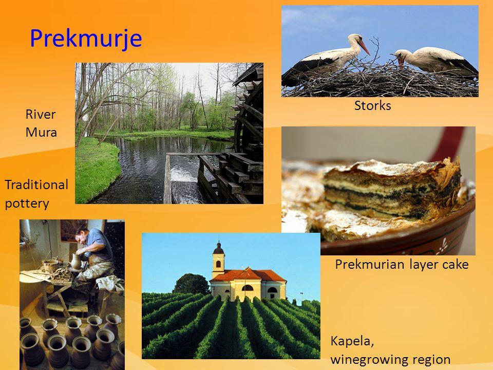 River Mura Prekmurian layer cake Storks Prekmurje Kapela, winegrowing region Traditional pottery