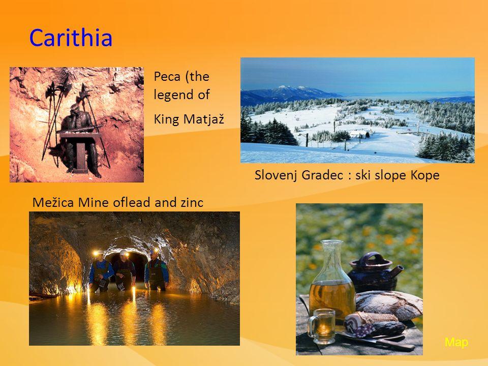 Carithia Peca (the legend of King Matjaž Slovenj Gradec : ski slope Kope Mežica Mine oflead and zinc Map