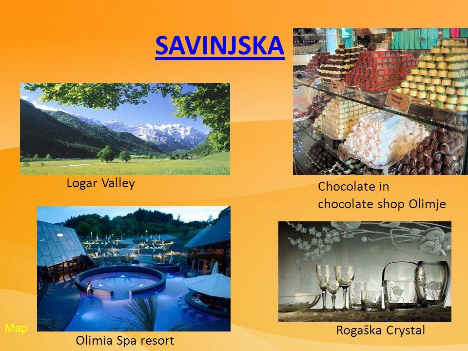 Olimia Spa resort Rogaška Crystal Chocolate in chocolate shop Olimje Logar Valley SAVINJSKA Map