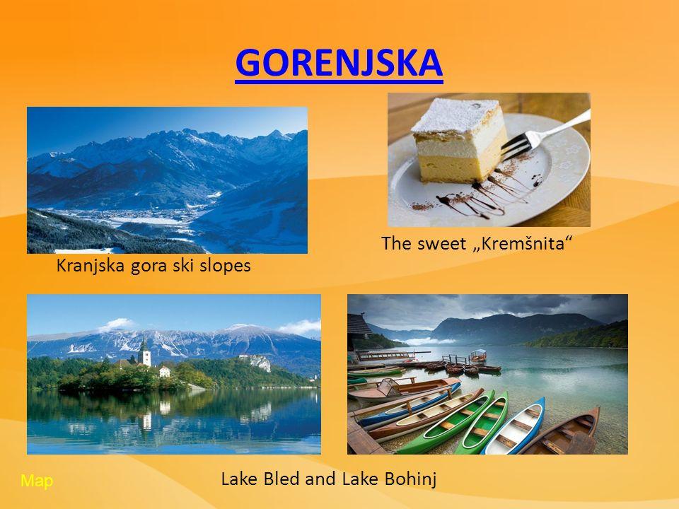 GORENJSKA Kranjska gora ski slopes Lake Bled and Lake Bohinj The sweet Kremšnita Map