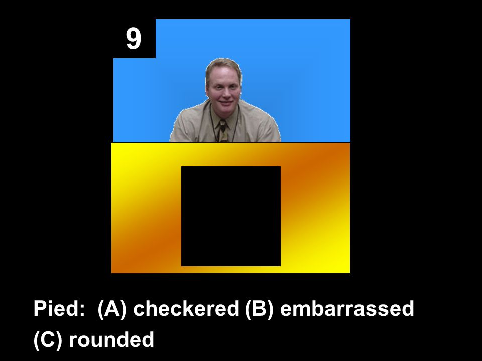 9 Pied: (A) checkered (B) embarrassed (C) rounded