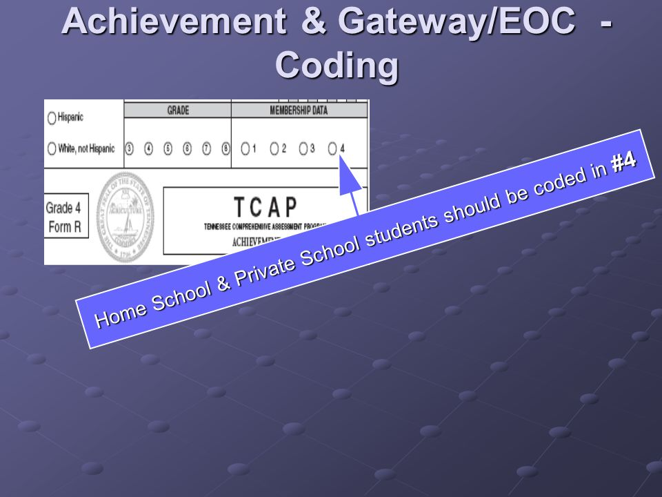Achievement & Gateway/EOC - Coding Home School & Private School students should be coded in #4