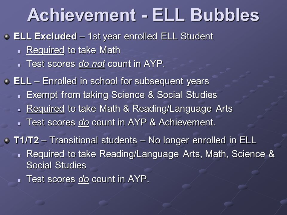 Achievement - ELL Bubbles ELL Excluded – 1st year enrolled ELL Student Required to take Math Required to take Math Test scores do not count in AYP.