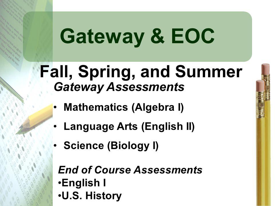Gateway & EOC Gateway Assessments Mathematics (Algebra I) Language Arts (English II) Science (Biology I) End of Course Assessments English I U.S. Hist