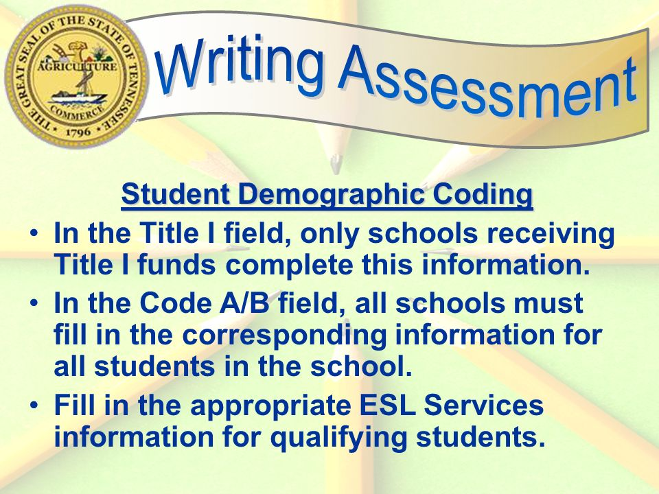 54 Student Demographic Coding In the Title I field, only schools receiving Title I funds complete this information.