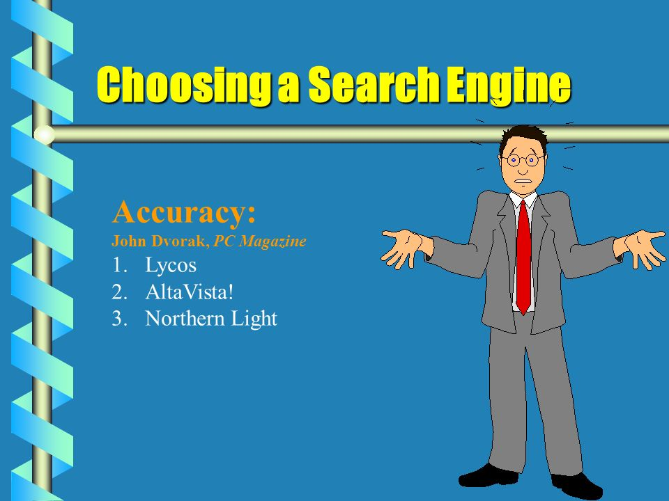Choosing a Search Engine Accuracy: John Dvorak, PC Magazine 1.Lycos 2.AltaVista! 3.Northern Light