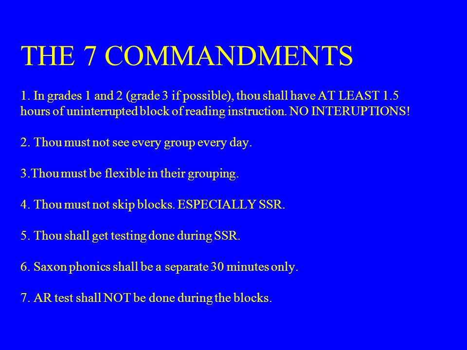 THE 7 COMMANDMENTS 1.