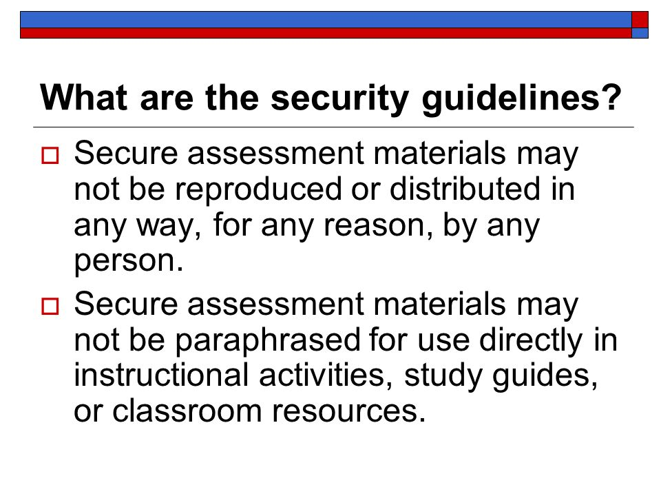 What are the security guidelines.
