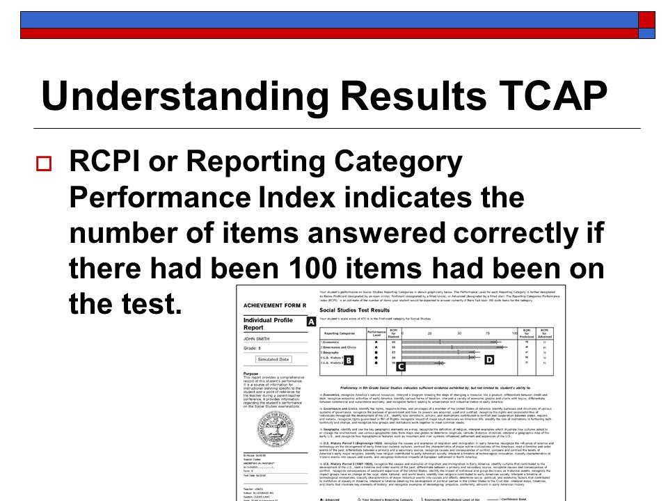 Understanding Results TCAP RCPI or Reporting Category Performance Index indicates the number of items answered correctly if there had been 100 items h