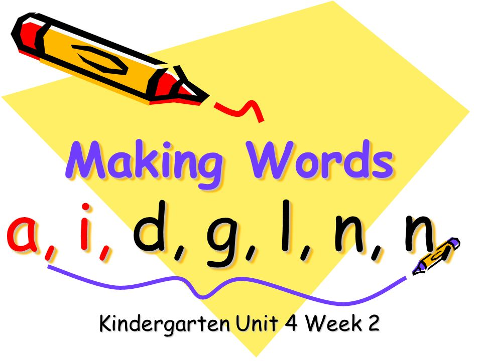 Making Words a, i, d, g, l, n, n, Kindergarten Unit 4 Week 2