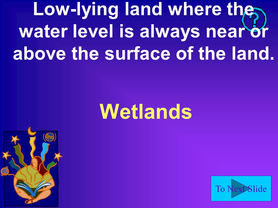 To Next Slide Low-lying land where the water level is always near or above the surface of the land.