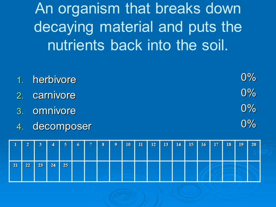 An organism that breaks down decaying material and puts the nutrients back into the soil.