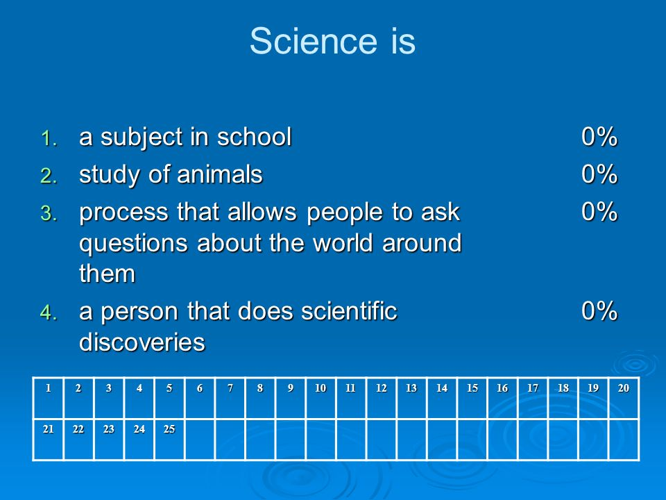 Science is 1. a subject in school 2. study of animals 3.