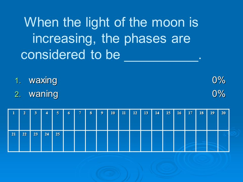 When the light of the moon is increasing, the phases are considered to be __________.
