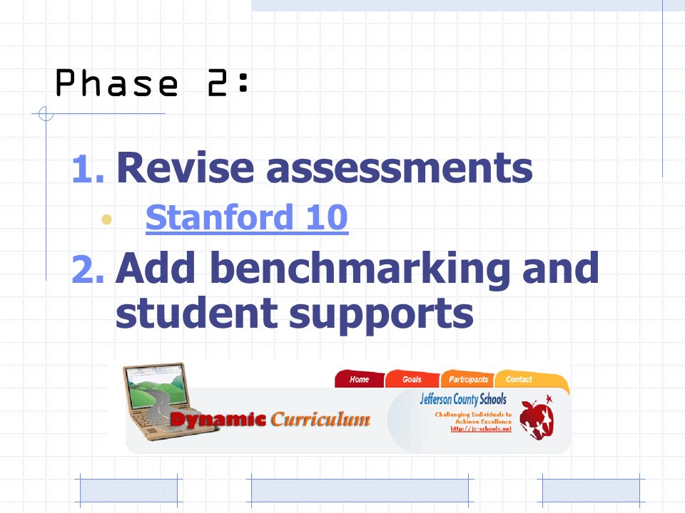Phase 2: 1. Revise assessments Stanford 10 2. Add benchmarking and student supports