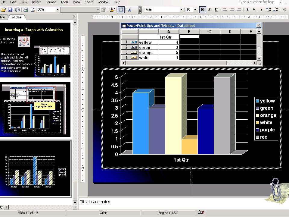 Inserting a Graph with Animation Click on the chart icon The preformatted graph and table will appear.