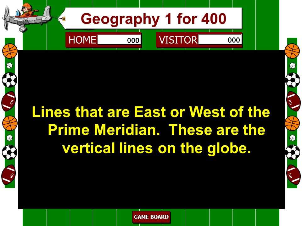 HOME VISITOR GAME BOARD GAME BOARD GAME BOARD GAME BOARD borders 300 These are the lines that separate countries, states, counties, etc. Geography 1 f