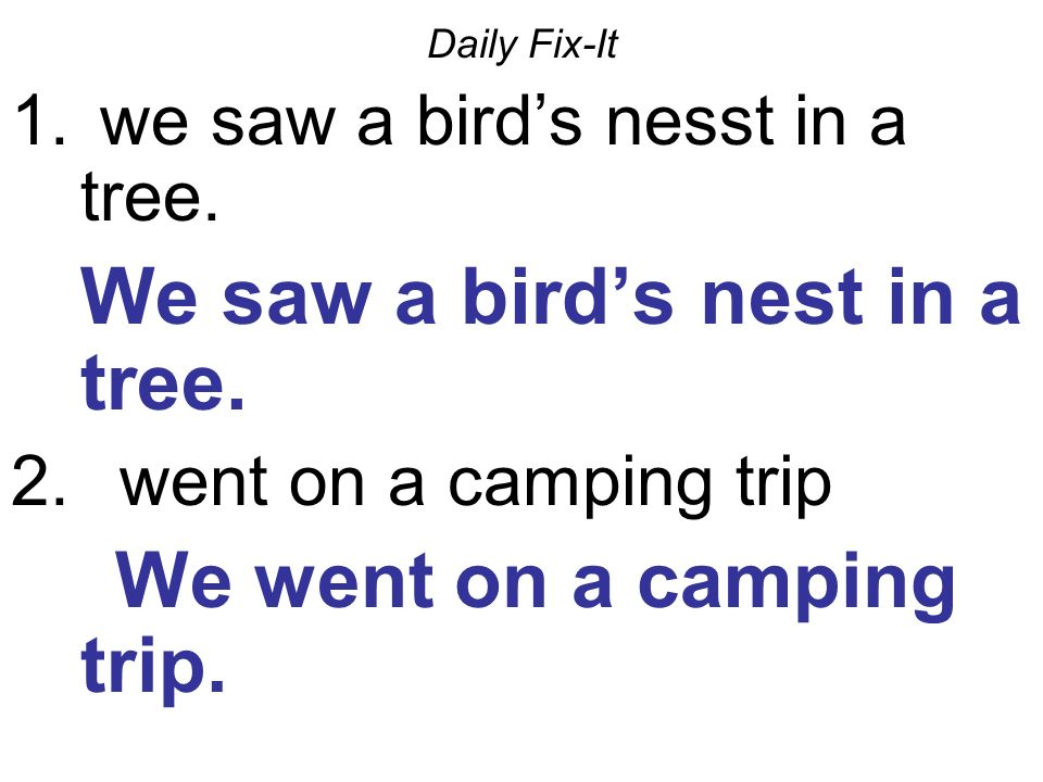 Daily Fix-It 1. we saw a birds nesst in a tree. We saw a birds nest in a tree.