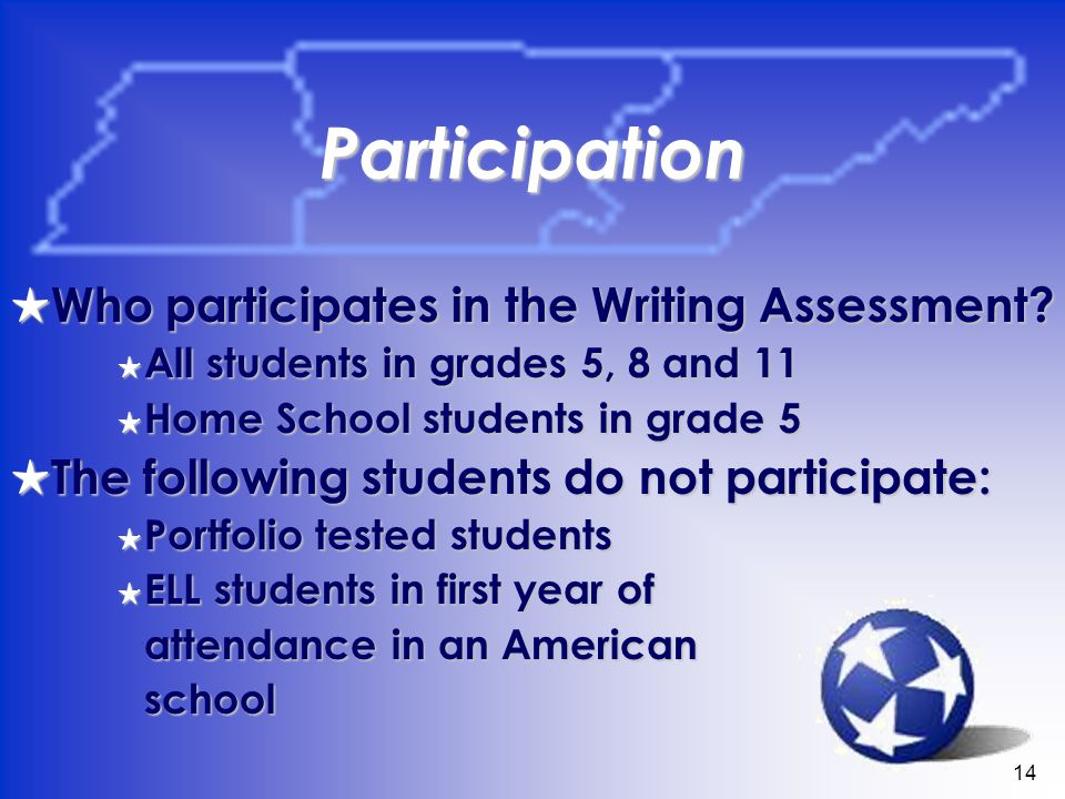 14 Participation Who participates in the Writing Assessment.