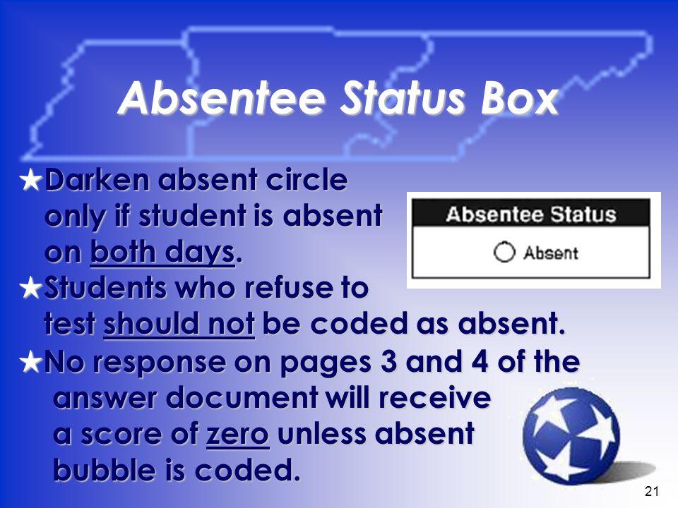 21 Absentee Status Box Darken absent circle Darken absent circle only if student is absent on both days.