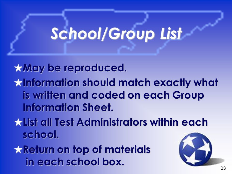 23 School/Group List May be reproduced. May be reproduced. Information should match exactly what is written and coded on each Group Information Sheet.