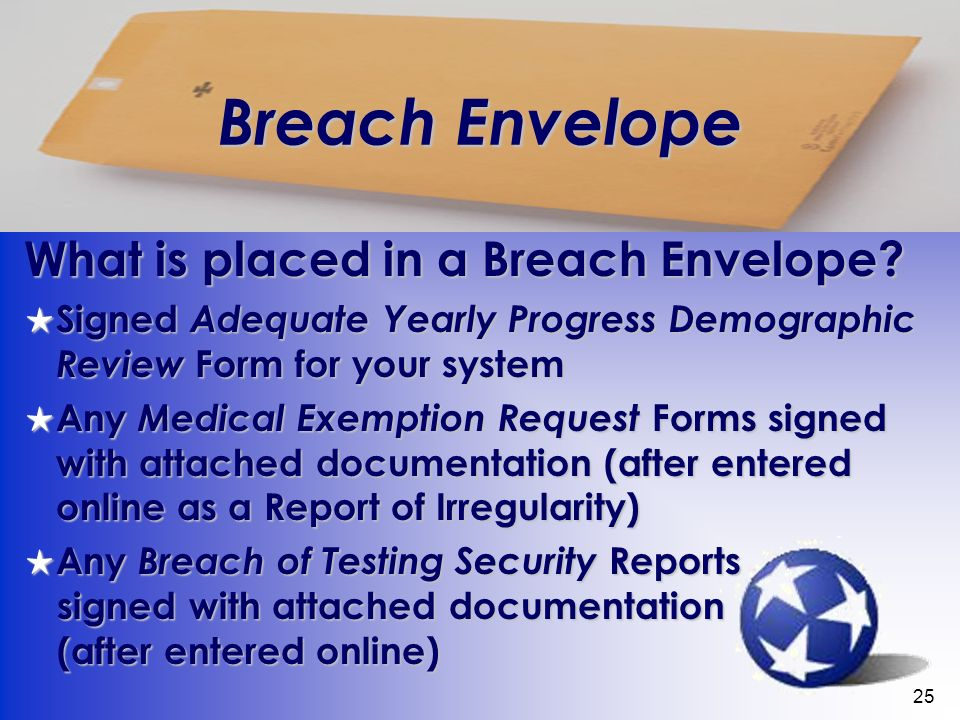25 Breach Envelope What is placed in a Breach Envelope.