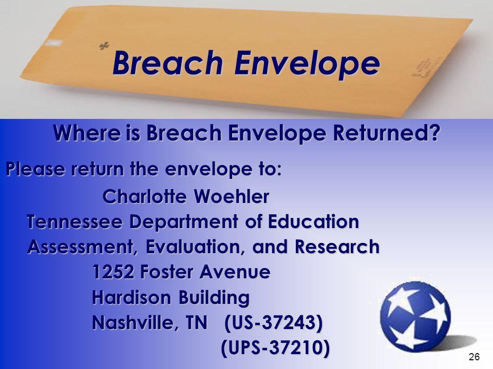 26 Breach Envelope Where is Breach Envelope Returned.