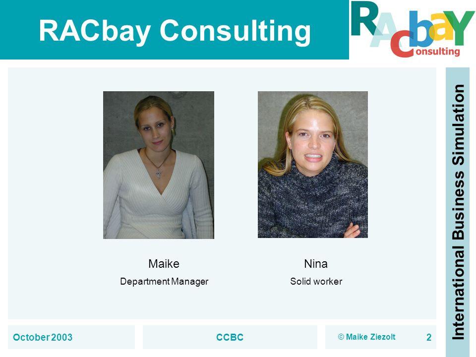 RACbay Consulting International Business Simulation October 2003CCBC2 Maike Department Manager Nina Solid worker © Maike Ziezolt